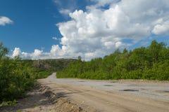 Le chemin de terre disparaît loin entouré par les buissons verts image stock