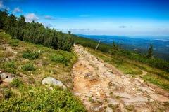 Le chemin des montagnes de géant de République Tchèque d'amitié de Tchèque-poli Photographie stock