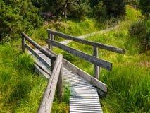 Le chemin en bois amarrent dedans le secteur Image libre de droits