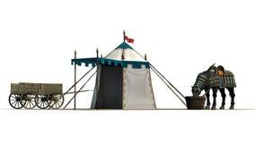 Le cheval, la tente médiévale et le vieux chariot en bois sur un sable apprêtent Photographie stock