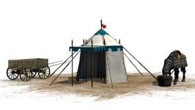 Le cheval, la tente médiévale et le vieux chariot en bois sur un sable apprêtent Image stock