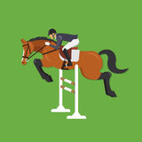 Le cheval sautant par-dessus la barrière, sport équestre Images stock