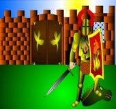 Le chevalier avec l'arme Photographie stock