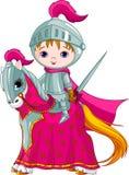 Le chevalier courageux sur le cheval Images libres de droits