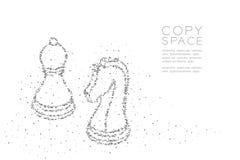 Le chevalier et le gage géométriques abstraits d'échecs de modèle de pixel de boîte carrée forment, illustration de couleur de no illustration de vecteur