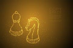 Le chevalier et le gage géométriques abstraits d'échecs de modèle de pixel de point de cercle de Bokeh forment, illustr de couleu illustration stock