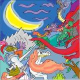 Le chevalier et trois ont dirigé le dragon illustration libre de droits