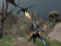 Le chevalier fait face au dragon Image stock