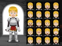 Le chevalier médiéval Girl Cartoon Emotion fait face à l'illustration de vecteur Image libre de droits