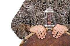 Le chevalier normand a habillé la 2ème moitié de guerrier du 11ème siècle de te Photos stock