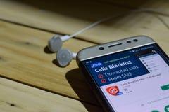 Le chiamate proscrivono PRO per l'applicazione dello sviluppatore di Android sullo schermo di Smartphone fotografie stock libere da diritti