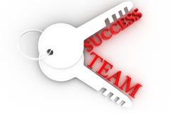 Le chiavi con le parole team e successo, concetto di affari Fotografia Stock