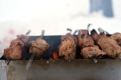 Le chiche-kebab est fait cuire sur le gril sur le charbon de bois Images stock