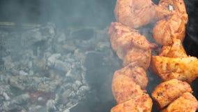 Le chiche-kebab est fait frire sur des charbons gastronomes banque de vidéos
