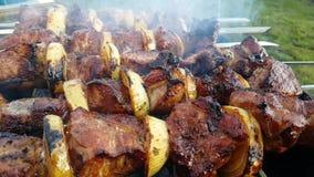 Le chiche-kebab a rôti sur le barbecue extérieur traditionnel gastronome de nutrition de fumée de gril banque de vidéos