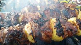 Le chiche-kebab a rôti sur le barbecue extérieur traditionnel gastronome de nutrition rôti par fumée de gril clips vidéos