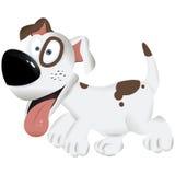 Le chien blanc et brun de chien mignon de bande dessinée - dirigez l'illustration Photos stock
