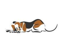 Le chien de chasseur dort Croquis de vecteur de dessin de main Images stock