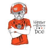 Le chien de hippie s'est habillé dans le T-shirt, écouteurs, chapeau et avec des verres Illustration de vecteur Photo libre de droits