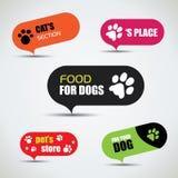 Le chien et le chat ont marqué des bulles de magasin d'animal familier Photo libre de droits
