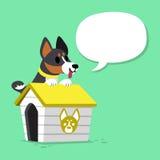 Le chien et le chenil noirs de basenji de personnage de dessin animé avec la parole bouillonnent Illustration Libre de Droits