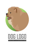 Le chien Logo Vector Illustration Chow Breed a isolé images stock