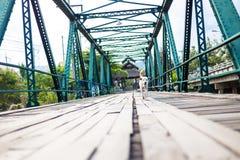 Le chien marchait sur le pont commémoratif image stock