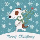 Le chien mignon porte l'arbre de Noël Joyeux Noël Image libre de droits