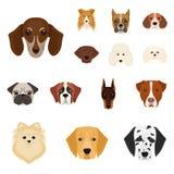 Le chien multiplie des icônes de bande dessinée dans la collection d'ensemble pour la conception Museau d'une illustration de Web Photo stock