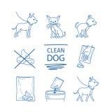 Le chien nettoient des icônes de dunette illustration libre de droits