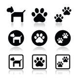 Le chien, patte imprime des icônes réglées illustration de vecteur