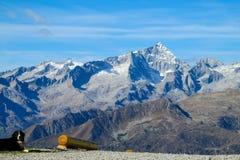 Le chien regarde le paysage de platon de neige au-dessus de la vallée verte dans les Alpes image libre de droits