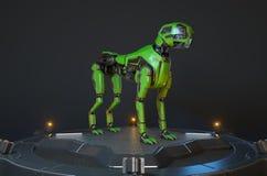 Le chien vert de robot se tient sur un dock de remplissage illustration de vecteur