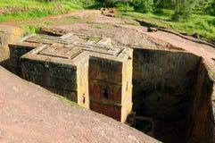 Le chiese ortodosse scolpiscono in roccia compatta in Lalibela Fotografia Stock