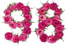 Le chiffre arabe 98, quatre-vingt-dix-huit, des fleurs rouges de a monté, isola Image stock
