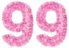Le chiffre arabe 99, quatre-vingt-dix-neuf, du myosotis rose fleurit, Image stock