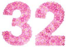 Le chiffre arabe 32, trente-deux, du myosotis rose fleurit, Photographie stock