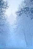 Le chiffre d'homme marche en brouillard à l'église sur la rue neigeuse en hiver Russie Photographie stock