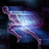 le chiffre 3D masculin sprintant sur l'ADN échoue le fond Photo stock