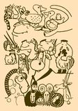 Le chiffre d'une vache stylisée, cheval, mouton, moutons, agneau, chèvre, poulet, coq, porc, porcs, chat, chien, canard, chat, mo Image stock