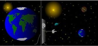 Le chiffre de bâton recherche une nouvelle planète Photographie stock
