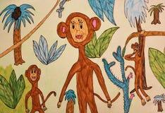 Le chiffre de l'enfant - singe photo libre de droits