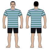 Le chiffre et le T-shirt d'homme de mode conçoivent avec le modèle rayé image libre de droits