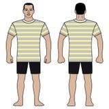 Le chiffre et le T-shirt d'homme de mode conçoivent avec le modèle rayé photo stock