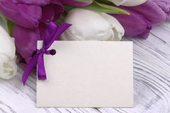 Le chiffre-huit a garni du boîte-cadeau rose de vert de guimauve avec les branches pourpres de ressort de ruban avec des bourgeon Photos stock