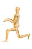 Le chiffre humain en bois de statuette d'homme fait à des expériences de montux l'action émotive sur un fond blanc Image libre de droits
