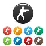 Le chiffre icônes de bâton de stickman a placé le vecteur de pictogramme simple Images stock