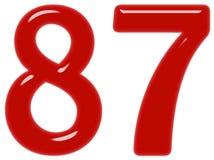 Le chiffre 87, quatre-vingt-sept d'isolement sur le fond blanc, 3d rendent illustration stock