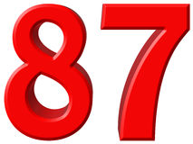 Le chiffre 87, quatre-vingt-sept d'isolement sur le fond blanc, 3d rendent Images libres de droits