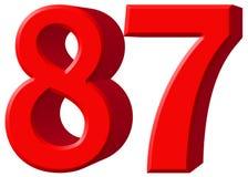Le chiffre 87, quatre-vingt-sept d'isolement sur le fond blanc, 3d rendent Photo stock